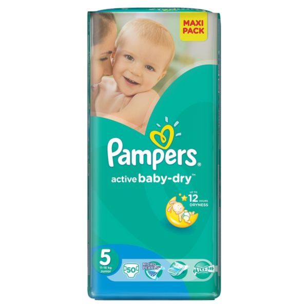 Pampers Бебешки пелени  Active Baby Junior р-р 5 /11-18кг/ 50 броя  0202418